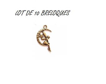 set of 10 fairy Elf on bronze (T05) Moon charms