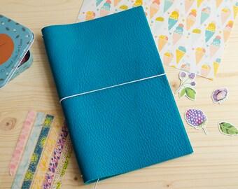 Cuaderno de cuero hecho a mano, estilo Midori Traveler's Notebook tamaño Regular/Wide - Aguamarina