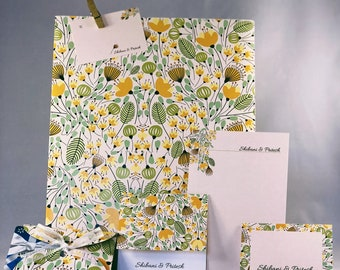 Yellow WildFlower Bloom, Personalised Stationery Set, Personalized Floral Stationary, Designer Note Cards with envelope, Gifting Solution