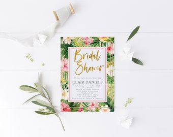 Tropical Floral Bridal Shower Invitation Template Tropical Leaves Bridal Shower Invite Summer Bridal Shower Editable Template DIY Template