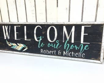 Welcome to our home, welcome wedding sign, Personalized, wall art,couples gift, personalized gift,wedding gift, gift for her