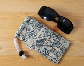 Glasses case,sunglasses case,printed pouch,canvas case,quilted glasses case,sunglasses cover,glasses bag,glasses soft case,blue glasses