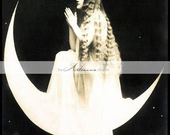 Love Pray Moon Beauty Long Hair Luna Vintage Antique Photography - Digital Download Printable Image - Paper Crafts Scrapbook Altered Art