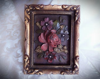 Beautiful Vintage Hand Painted Bavarian Wax Flower Carving Wall Hanger