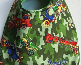 Baby Bib:  Fire Engines, Trucks, Cement Mixers, and More on Camouflage