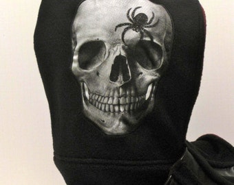 Handmade - Hooded Scarf - Scoody -  Halloween - Skull - Spider - Faux leather - Fleece Scarves - Goth