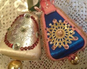 Vintage Lot of 2 Christmas Beaded Ornaments - Bell Shaped - Blue, Pink, White, Red