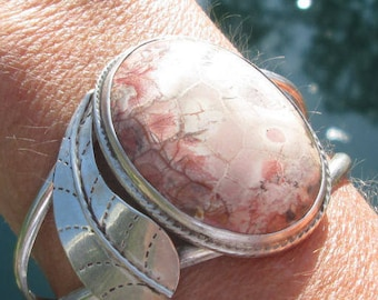 Rhyolite and Sterling Feather Cuff Bracelet