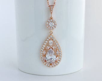 Rose Gold Cubic Zirconia Necklace Rose Gold Teardrop Necklace Rose Gold Wedding Crystal Pendant Rose Gold Teardrop Crystal Pendant Necklace