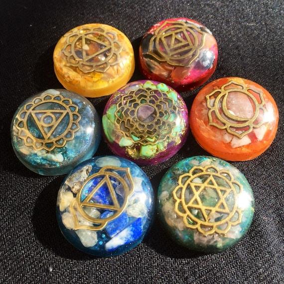 Orgonite® Chakra Set Bronze- Healing Reiki Chakra Energy- Crystal Set- Sacred Geometry- Chakra Stones- Grounding Chakra Orgonite