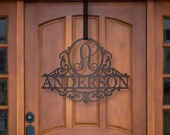 Classy Metal Name | Metal Monogram | Framed Family Initial | Letter Door Sign Hanger