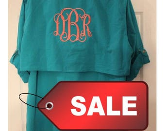 Monogrammed Fishing Shirts-- SIZE MEDIUM--Long Sleeves / Monogram /Swimsuit Cover Up/ Save FIVE Dollars now!