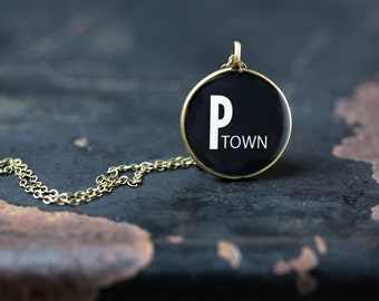 P Town Necklace - Provincetown - Miniature Pendant - Vintage Typewriter Key Inspiration - Glossy Resin Charm