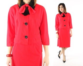 Vintage 60s Suit Fur Collar Red Blazer Jacket High Waisted Pencil Skirt 1960s Medium M Holiday Christmas Pinup