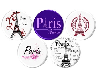 Paris Pinback Buttons, Eiffel Tower, French Wedding, French Party Favor, Birthday Gift, Ephemera Pinback Button - BB2181