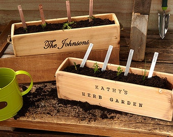 Personalized Rustic Herb Garden Planter Box