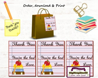 Teacher Appreciation Thank You Tags - Printable Digital File - Instant Download