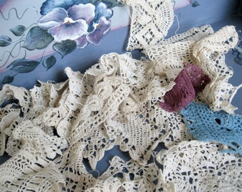 Antique Bulk Crochet Trim, Antique Crochet Samples, 25 Pieces, Crafts, Supplies, Hand Made, by mailordervintage on etsy