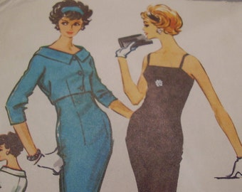 Vintage 1950's McCall's 4745 Sheath Dress with Jacket Sewing Pattern, Size 12, Bust 32 or Size 14 Bust 34