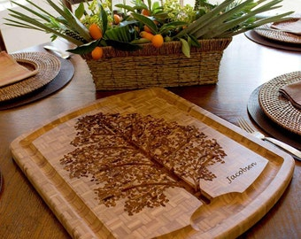 Custom Family Tree Carving Board - Custom Bamboo Cutting Board - Wedding Gift, Couples Gift, Anniversary Gift, Gifts for Mom, Housewarming