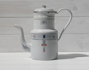 Art Deco Enamel Coffeepot, Vintage Cafetiere, Nordic Deco Cafertiere, Cottage Chic, Shabby Chic, German Vintage Kitchen, Enamel Coffeepot
