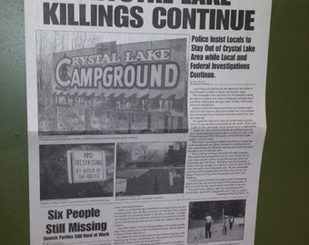 Crystal Lake Newspaper Display Piece Friday the 13th