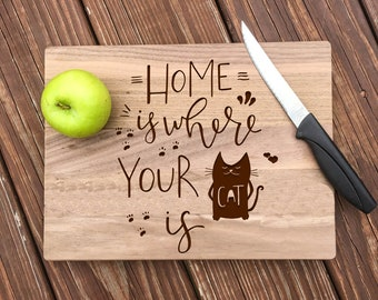 Cat Lover Gift, Cat Cutting Board, Cat Kitchen, Cat Decor, Home Is Where Your Cat Is, Cat Gift, Wood Cutting Board, Cat Kitchen Decor, Kitty