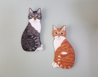 Tabby Cat Set Wall Art - Cat Paintings - Cat Plaques - Cat Decor - Cat Themed Gift - Tabby Cat Sign Set ~ Cat Lover Gift