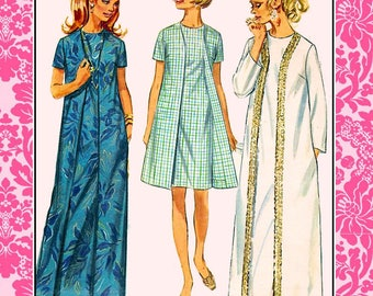 Vintage 1968-FRONT WRAP DRESS-Plus Size Sewing Pattern-Five Styles-Evening-Day Styles-Braid Trim-Easy Loose Fit-Uncut-Size 18-Rare