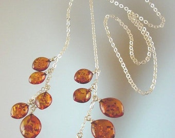 Baltic Amber and  Sterling Silver  Necklace - Natural Honey Amber Jewelry