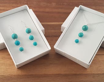 Sterling silver genuine turquoise pendant and earrings jewellery set