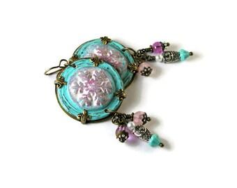 Snowflake Owl Charm Earrings Rustic Polymer Clay Boho Chic Hippie Gypsy - Aqua White Pink Brass