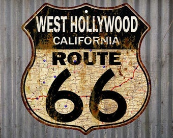 West Hollywood, California Route 66 Vintage Look Rustic 12X12 Metal Shield Sign S122095