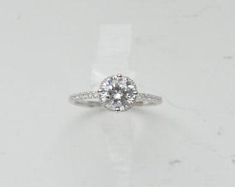14k Heirloom Engagement Ring - 14k Gold Engagement Ring - Round Engagement Ring - Gold Promise Ring - Made to Order - CZ Solitaire Ring