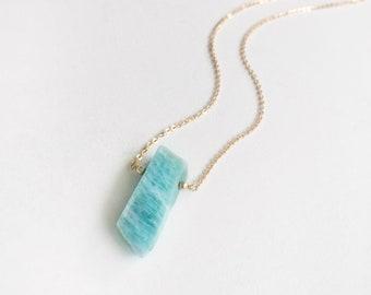 Amazonite Necklace / Gemstone Necklace / Gold Necklace / Ocean Necklace / Simple Pendant / Minimalist Necklace / Simple Necklace / Bohemian