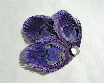 Petite Hair Clip Collection - Purple Peacock Feather Hair Clips