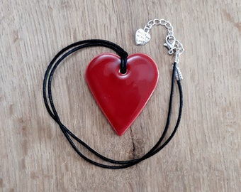 Ceramic Heart Pendant / Necklace in Deep Red  - Ruby Red