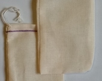 25 3x5 inch  Lavender Hem Double Drawstring Cotton Muslin Bags