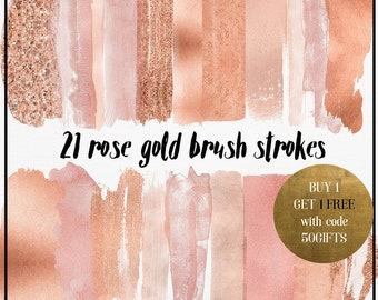 Rose gold Brush Strokes, Rose gold Clipart, Rose gold watercolor brush, copper clipart, Acrylic Paint Clipart, rose gold logo
