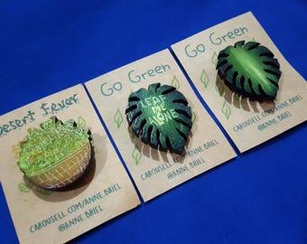 Leaf Me Alone Pun Badge, Leaf Pin, Leaf Badge, Leaf Brooch, tropical leaf pin, Monstera leaf pin, fern,pot with leaves pin, basket of leaves