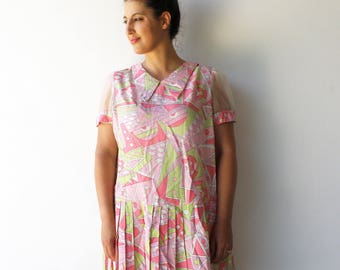 Vintage Drop Waist Dress / Pastel Novelty Dress / Size M L XL