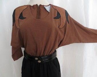 Vintage 80s womens jumpsuit, brown black leather trim, punk, goth, long dolman sleeves