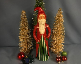 Paper mache sculpted vintage Father Christmas St. Nick Santa Christmas figure