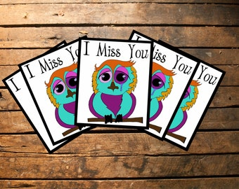 Crying Owl/I Miss You/Printables/PNG/INSTANT download/Download For Cards