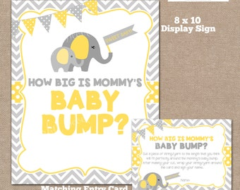 INSTANT DOWNLOAD, Elephant How Big is Mommy's Belly Game, Belly Guessing Game, How Big is Mommy's Belly, Elephant, Yellow, #0005