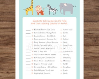 Celebrity Baby Names Safari Animals / Zoo Animal Celebrity Baby Game / Jungle Gender Neutral Matching / Printable Digital / INSTANT DOWNLOAD