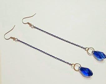 Royal Blue Earrings, Shoulder Dusters, Long Dangle Earrings, Teardrop Earrings, Chain Earrings, Blue and Gold Earrings, Rocker Style Jewelry