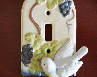 Ceramic Bird Light Switch Cover /  Relief Design  / Vintage Single Switch / Blue Bird / Grapes / Takakashi Japan