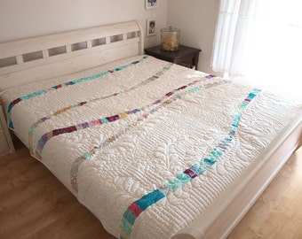 queen size quilt, art quilt, modern quilt, homemade quilt, patchwork, patchwork quilt, handmade quilt, quilted bedding,