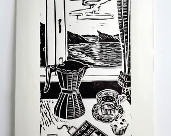 "Original Linocut Print, 11.75"" x 7.5"", Limited edition, small size art, black ink, Coffee break, cupcake, kitchen decor, wall art, gift idea"